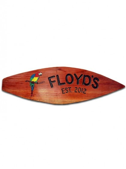 12surfboard Carved Redwood Sign