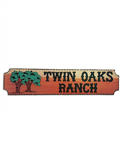 833OAKS Carved Redwood Sign