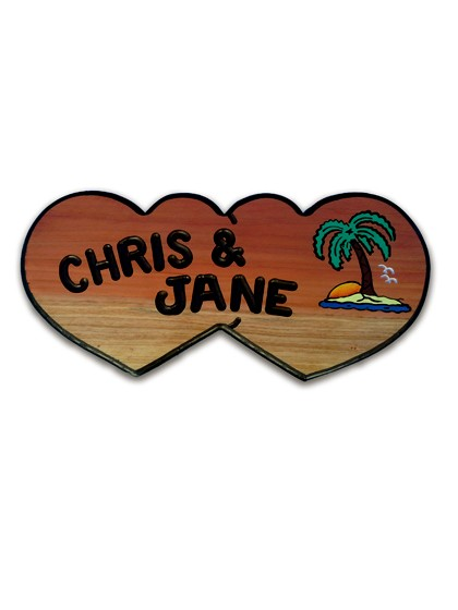 Double Heart with Palm Tree