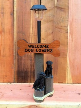 Welcome Dog Lovers (2) Solar Lamp